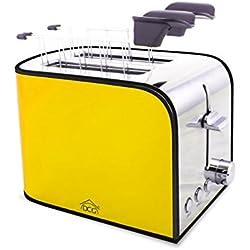 Tostapane elettrico TA8360 DCG in acciaio 2 pinze 850W funzione scongelamento. MEDIA WAVE store ® (Giallo)