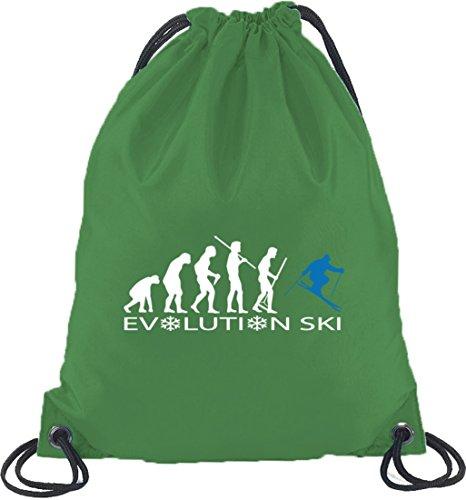 Shirtstreet24, EVOLUTION SKI 2.0, Wintersport Turnbeutel Rucksack Sport Beutel Kelly Green