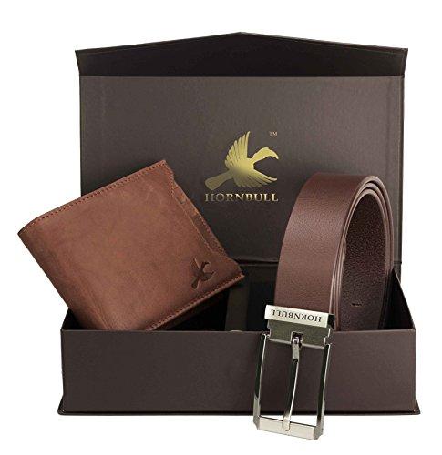 Hornbull Men's Brown Wallet and Belt Combo BW9290