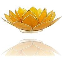 Trimontium Regalo/decoración: Organizador de Soporte para Velas de té talladas-Concha en Forma de Flor de Loto Plateado trifoliadas Monocolor con Reborde y Vela de té