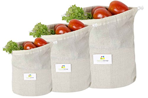 HomeStrap Cotton Reusable Muslin Fridge Storage Bag for Fruits & Vegetables