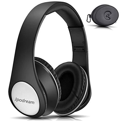 Jpodream Bluetooth Faltbare Kopfhörer, kabellos und verkabelt, 2 in 1 HiFi Stereo Bluetooth Kopfhörer mit tiefem Bass und Case Box, integriertes Mikrofon für Handy Reisen Arbeit TV und PC Schwarz