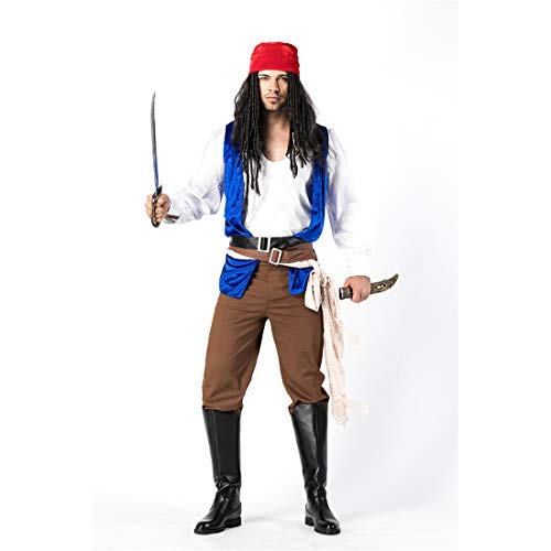 HOOLAZA Männer Piraten der Karibik Kostüm Rogue Pirate8 Stück Bühnenkostüm ()