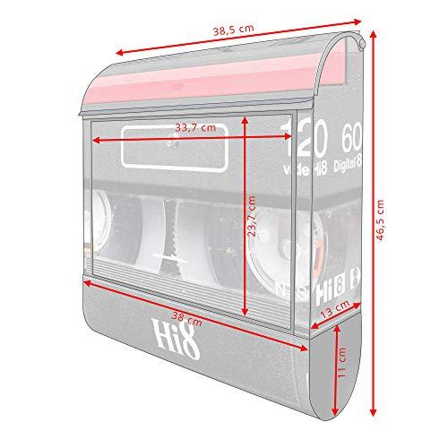 BANJADO Design Briefkasten schwarz | 38x47x13cm groß mit Zeitungsfach | Stahl pulverbeschichtet | Wandbriefkasten mit Motiv Video Kassette | mit silbernem Standfuß - 5
