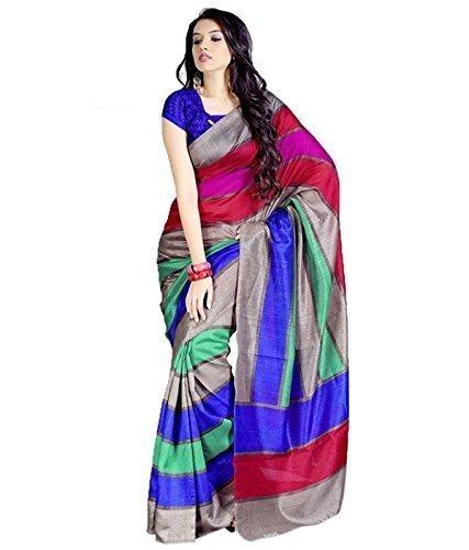 Sarees For Women Party Wear Offer Designer Sarees Silk ( Vibes Women`s Bhagalpuri Art Silk Saree,With Blouse )
