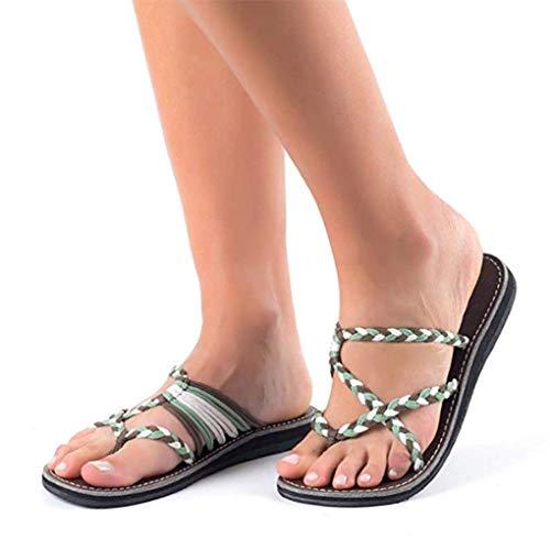 Sommer Pantoletten Schuhe für Damen/Dorical Frauen Flip Flops Kreuzband Geflochtene Sandalen Roman Schuhe Woven Strap Mode Strand Hausschuhe Flacher Anti Rutsch 35-43 EU Ausverkauf(Khaki,40 EU)
