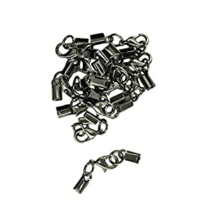 Segolike Lobster Clasp Clip Fold over Cord End Crimp Caps Bail Tips Jewelry Making Findings Connector (Jet Black)