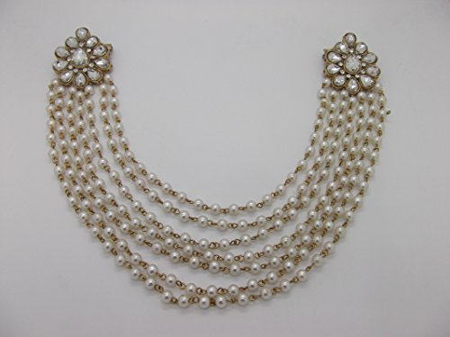 9blings Stylish Blouse Back Accessory Pearl CZ Multistrand Brooch