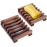 Jabonera de Madera con Ducha (2 piezas), Rusee Titular Soapbox Mano Madera Jabonera de Bambú Natural para Ducha de Baño