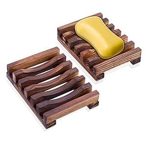 Rusee Jabonera de Madera con Ducha (2 Piezas), Titular Soapbox Mano Madera Jabonera de Bambú Natural para Ducha de Baño