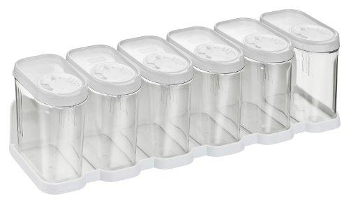 Haushaltsdose Gewürzdosen Schüttdosen Streudosen Vorratsdosen 0,25l 6er Set mit Regal weiß