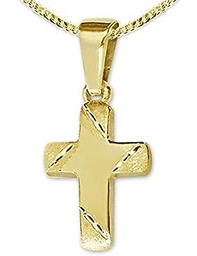 CLEVER SCHMUCK Goldener kleiner Anhänger Mini Kreuz 11 x 8 mm Balkenenden matt diamantiert, innen glänzend 333...