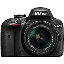 Nikon D3400 - Cámara digital de 24.2 MP (DX, CMOS, Full HD, 5CPS, 100 -25.600 ISO,TLL, LCD TFT, 3'') - kit cuerpo con lente AFP DX 18/55