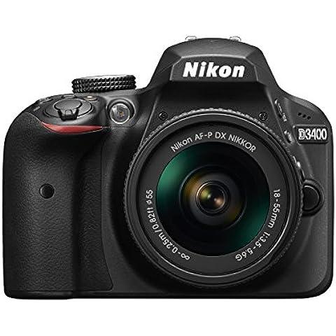 Nikon D3400 - Cámara digital de 24.2 MP (DX, CMOS, Full HD, 5CPS, 100 -25.600 ISO,TLL, LCD TFT, 3'') - kit cuerpo con lente AFP DX 18/55