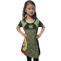 Little Kathmandu-algodón mariposa floral de manga corta vestido de verano Hippie verde verde 4 años