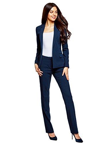 ... oodji Collection Damen Klassischer Taillierter Blazer Blau (7910S) ...