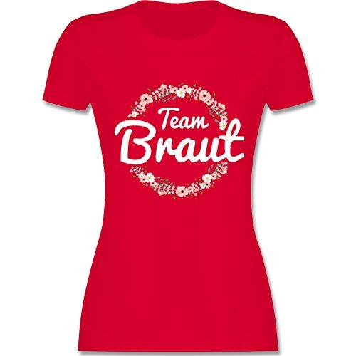 JGA Junggesellinnenabschied - Team Braut Blumenkranz - XXL - Rot - L191 - Damen Tshirt und Frauen T-Shirt