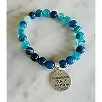 Pulsera Te queremos tia ágatas azules, regalos para tías.