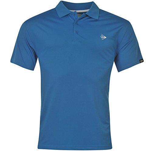 Dunlop da uomo tinta unita Polo a maniche corte maglietta Top T Shirt leggero Blue