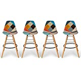 IDMarket - Lot de 4 tabourets de Bar Motifs patchworks Multi-Couleurs