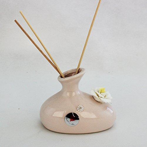 Dlm25735 profumatore in ceramica con fiore cristallo capodimonte (kit 6 pezzi) bomboniera