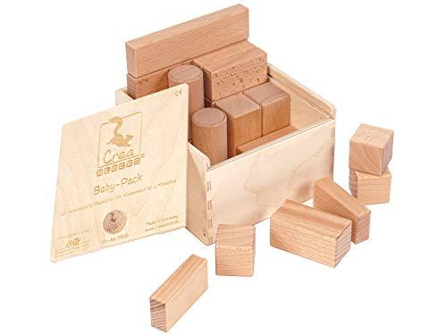 CreaBLOCKS Holzbausteine Baby-Pack (22 Bauklötze unbehandelt) Holzbauklötze für Kleinkinder ab 6 Monate Holzklötze naturbelassen (in der Schiebedeckelkiste)