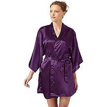 SlickBlue Mujer Kimono Albornoz Raso Dama de honor Salón Ropa de dormir