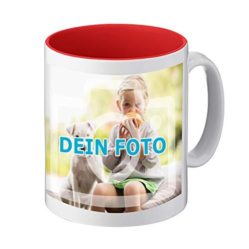 Fototasse mit Farbiger Innenseite, Text und Bild persönlich individualisieren (hochwertige Kaffeetasse, innen farbig, mit personalisierbarem Foto, spülmaschinenfest) (Standard, rot)