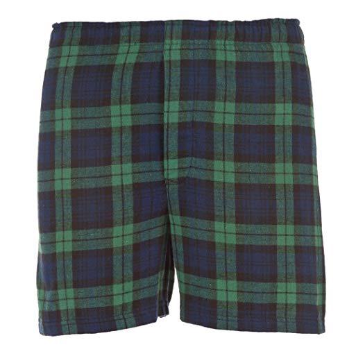 Boxercraft Herren Baumwolle Flanell Plaid Boxer Sleep Shorts Gr. Large, Blackwatch Green/Navy -