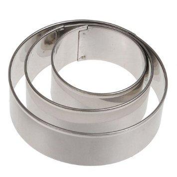 Preisvergleich Produktbild tmodd 3x rund Kreis Fondant Kuchen Sugarcraft Keks Ausstecher Decor Metall Set