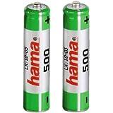 Hama NiMH Battery 2x AAA (Micro - HR03) 500 mAh - Batería/Pila recargable (Níquel-metal hidruro (NiMH), Negro)