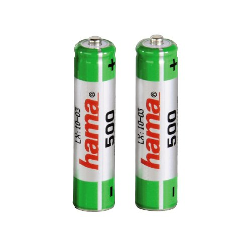 Galleria fotografica Hama NiMH Battery 2x AAA (Micro - HR03) 500 mAh Nickel-Metal Hydride (NiMH) 500mAh 1.2V rechargeable battery - rechargeable batteries (500 mAh, Nickel-Metal Hydride (NiMH), 1.2 V, Black)