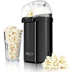 Machine à Pop Corn Preup, Mini Machine à pop-corn domestique portable, Pop Corn Machine antiadhésif inclus, air chaud sans huile avec boîtier transparent et housse détachable, 1000W