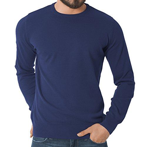 Original CELODORO Exclusive Herren Rundhals Pullover Longsleeve - Highest Standard - Viele modische Farben - Größen S-3XL Blue Indigo