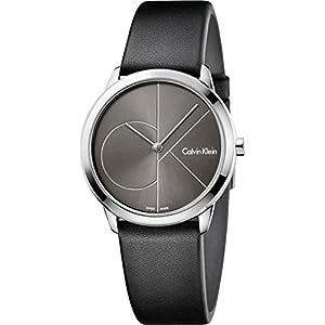 Calvin Klein Damen Analog Quarz Uhr mit Leder Armband K3M221C3