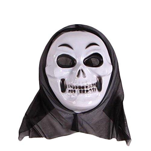 attachmenttou Halloween Skeleton Vollgesichtsmaske Scary Ghost Skull für Horrow Cosplay Kostüm