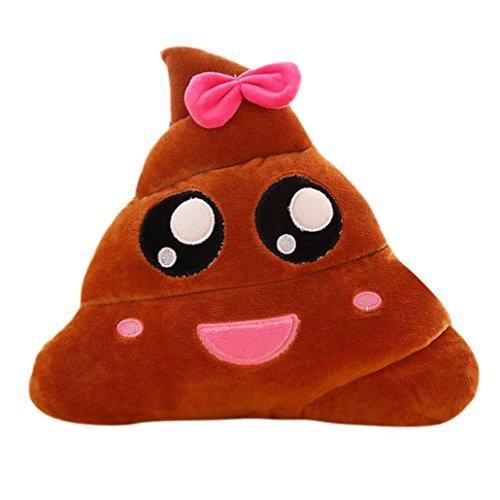 HLHN Amüsant Emoji Emoticon Kissen, Herz Augen Poo Form Kissen Puppe Spielzeug werfen Kissen Geschenk (Braun B)