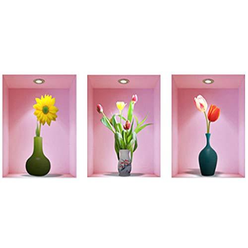 Wandaufkleber 3D Vinyl Entfernbare Abziehbilder DIY, Simulation Raumdekoration Set Von 3 Flaschen Blumen
