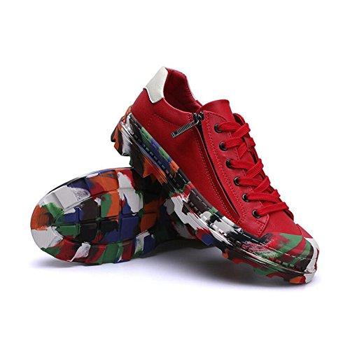 HUAN Herrenschuhe Herren Freizeitschuhe Mode Turnschuhe Deck Bootsschuhe Canvas Schuhe Outdoor Laufschuh (Color : Rot, Size : 43)