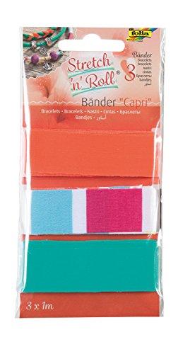 folia 93301 - Armbandbastelset Strech und Roll - Bänder Capri, mehrfarbig