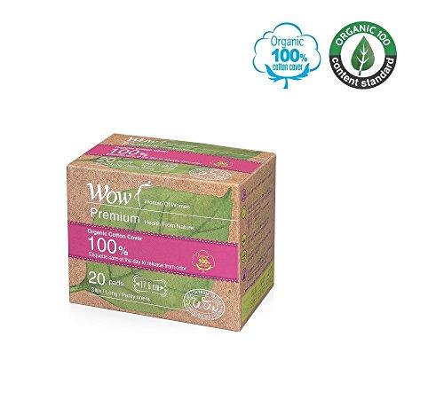Wow Slipeinlagen für Damen, 100% Bio-Baumwolle, USDA-zertifizierte Baumwolle, parfümfrei, lange Größe, natürlich, atmungsaktiv, hypoallergen, 17,5 cm, 1 Pack/20 insgesamt