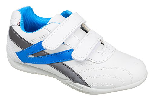 Gibra ® enfant, avec fermeture velcro, blanc/bleu, taille 26–31 Blanc - Weiß/Blau