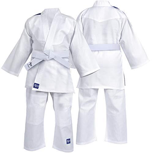 Karate Kid Kostüm - Starpro Kinder Kampfkunst Kostüm Karate Judo Anzug Kleidung - Kampfkunst Judo Kit Kostüm Set Jacke Hosen mit kostenlosem Gürtel (White, 100cm)