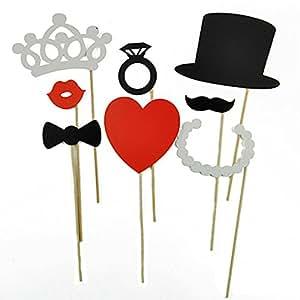 8 photos à monter soi-même Motif moustaches colorées Bague-Coeur-Couronne de mariage