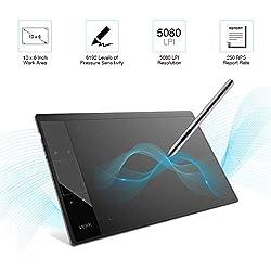 Tablette graphique à Stylet Passif 10 x 6 pouces sans Batterie avec 4 Touches de Raccourci et 8192 Niveaux Sensibilité à la Pression Compatible avec Mac, Windows et de nombreux logiciels de création