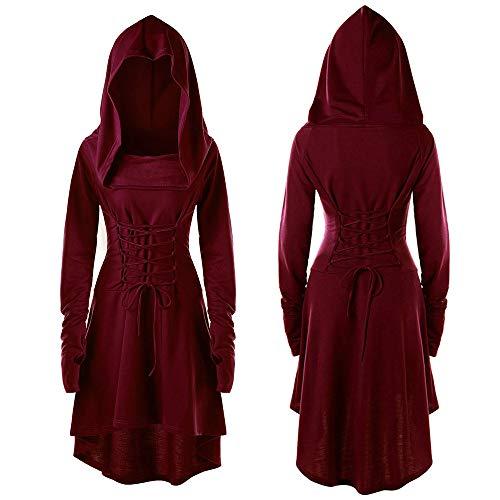 TianWlio Damen Kostüme Schnüren Sich Oben mit Kapuze Vintage Pullover Hoch Niedrig Bandage Langes Kleid Mantel Wein L