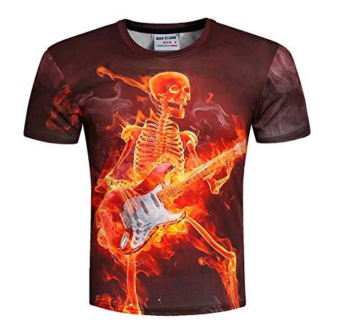 Männer/Frauen T-Shirt 3D-Druck Entwickelt Bone Man spielt Klavier Stilvolles Sommer-T-Shirt Tops Tees Plus Size -XL
