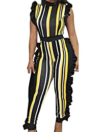 7354c722c0dc Jamicy Women Jumpsuits Ladies Summer Jumpsuit Sleeveless Ruffled Striped  Party Long Pants Casual Playsuit