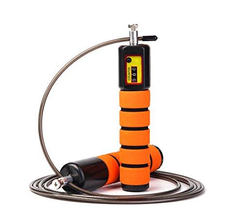 JOYORUN Springseil Speed Rope mit Zähler/Springseil Stahl für Sport Training Crossfit, Fitness-Training, Rope-Skipping, MMA & WODs (Springseil Counter)