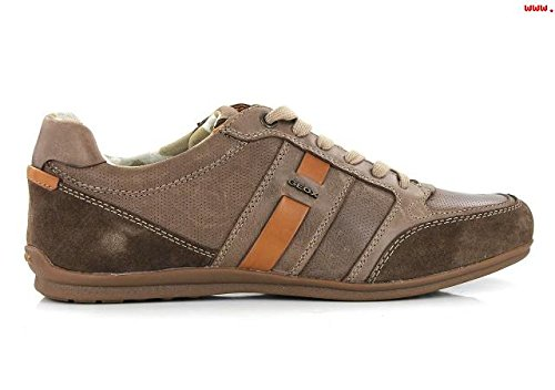 SNEAKER INVERNALE UOMO GEOX - HOUSTON U62P1A 000CL DK BROWN (C6006) VITELLO CERATO N. 39